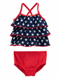 Carters Infant Girls Blue 4th July Patriotic 2 Pc Ruffle Tankini Swimming Suit