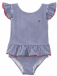 Carters Infant Girls 1 Pc Ruffled Blue Stripe Swim Suit Swimming & Bathing 6m
