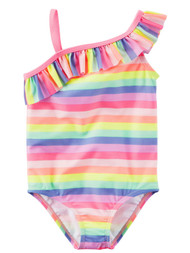 Carters Infant Girls 1 Pc Neon Pink Stripe Swim Suit Ruffled Swimming & Bathing