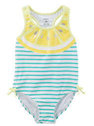 Carters Infant Girls 1 Pc Yellow Lemon Swim Suit Stripe Swimming & Bathing 6m