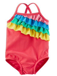 Carters Infant Girls 1PC Pink Rainbow Ruffle Swim Suit Swimming & Bathing