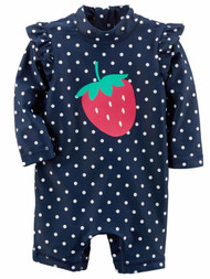 Carters Infant Girls Blue Polka Dot Strawberry Rash Guard Baby Swimming Suit 6m