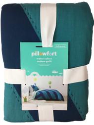 Basic Blue Geometric Stripe Full Queen Cotton Quilt