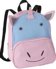 """Basic Pink & Blue Unicorn 13"""" Backpack Lightweight Canvas Critter Preschool Pack"""