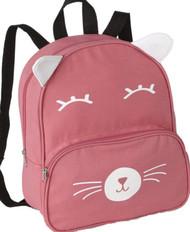 """Basic Pink Kitty Cat 13"""" Backpack Lightweight Canvas Critter Preschool Pack"""