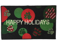 Christmas Happy Holidays Animal Paws Accent Rug 17 in x 28 in Skid Resistant Mat
