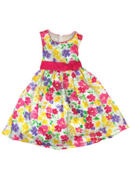 American Princess Girls Pink Yellow & Purple Floral Party Dress Flower Girl