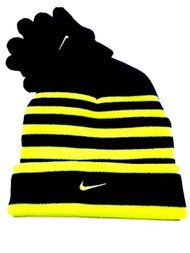 Nike Boys Black & Volt Striped Cuffed Winter Hat & Gloves Beanie Set
