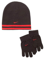 Nike Boys Gray & Neon Orange Reversible Winter Hat & Gloves Beanie Set