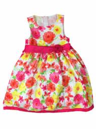American Princess Girls Pink Orange Rose & Butterfly Party Dress Flower Girl