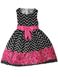 American Princess Girls Black & Pink Chevron Floral Party Dress Flower Girl