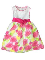 American Princess Girls Pink & Yellow Watercolor Rose Party Dress Flower Girl