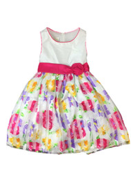 American Princess Girls Pink & Purple Stripe Rose Party Dress Flower Girl