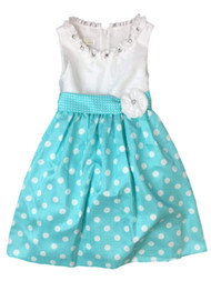 American Princess Girls Blue Polka Dot Rhinestone Party Dress Flower Girl