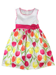 American Princess Girls Pink Orange Floral Tulip Party Dress Flower Girl