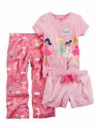 Carters Infant Girls Bedtime Besties Pajamas Pink Flamingo Glitter Sleep Set
