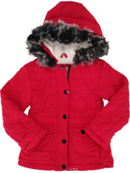 Little Girls Fleece Sherpa Lined Coat Red Quilted Fur Trim Hooded Jacket