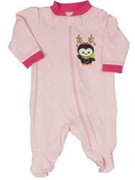 Baby Girl Pink Penguin Polka Dot Sleeper Holiday Christmas Pajamas