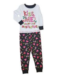 Baby Girl Black Pink Kiss Me Under The Mistletoe Set Sleeper Holiday Pajamas