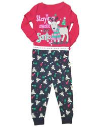 Baby Girls Black Staying Awake For Santa Christmas Holiday Pajamas Pjs Set