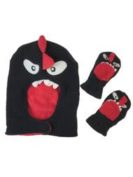 ABG Infant & Toddler Boy Black & Red Monster Face Mask Hat & Mittens Set
