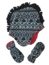 ABG Infant & Toddler Boys Black & Gray Mohwak Trapper Hat & Mittens Set