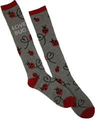 Gray Ladybug Love Bug Heart Valentine Mid-Calf Holiday Socks Size 4-10