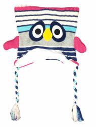 Girls Gray & Ivory Striped Owl Peruvian Style Critter Trapper Bird Hat