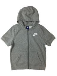 Nike Big Boys Gray Short Sleeve Zip Front Hoodie Sweatshirt