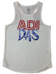 Adidas Girls Red White & Blue Patriotic Athletic Tank Top Tee Shirt