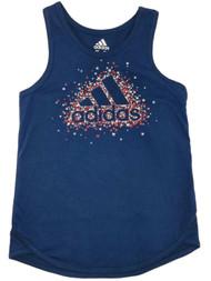 Adidas Girls Patriotic Blue Star Athletic Tank Top American Flag Tee Shirt
