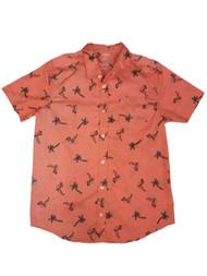 Boys Coral Button Front Flamingo & Palm Trees Shirt Tropical Bird Top