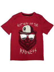 Boys Red Just Here For The Radness T-Shirt Grizzly Bear Shirt