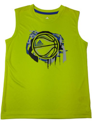 Adidas Climate Boys Yellow Basketball Athletic Tank Top T-Shirt Muscle Shirt