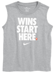 Nike Boys Gray Wins Start Here Athletic Tank Top T-Shirt Tee Muscle Shirt