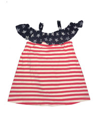 Infant Girls Red White & Blue Stars & Stripes Ruffle Neckline Patriotic Dress