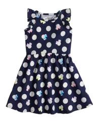 Girls Navy Blue Minnie Mouse Silver Glitter Dot Cap Sleeve Glittery Dress