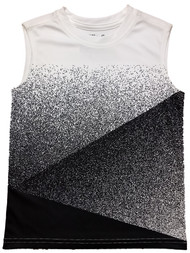 Boys Black & White Speckle Silky Athletic Tank Top T-Shirt Muscle Tee Shirt