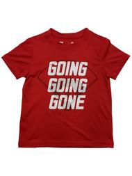 Boys Red Going Going Gone Baseball Themed Athletic T-Shirt Tee Shirt