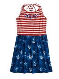 Girls Red White & Blue Stars & Stripes Crisscross Back Sleeveless Dress