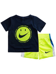 Infant Boys Baby Outfit Blue Have A Nike Day Tee Shirt & Yellow Shorts Set