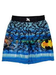 Batman DC Comics Boys Blue Bat Swarm Graphic Swim Trunks Board Shorts 6/7