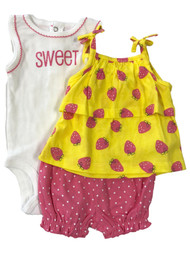 Carters Infant Girls Sweet Strawberry Baby Outfit Bodysuit Shirt & Shorts