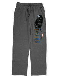 Black Panther Marvel Mens Heather Gray Knit Sleep Pants Pajama Bottoms