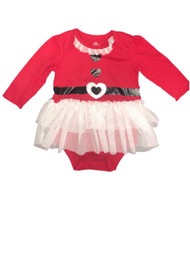 Infant Girls Red & White Christmas Creeper White Tulle Skirt Bodysuit Dress