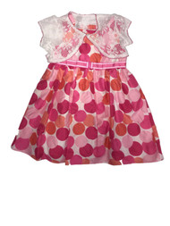 Toddler Girls Pink Satin Dot Easter & Party Dress With White Cardigan