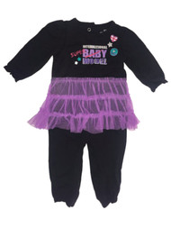 Infant Girls Black & Purple Tutu Tulle Skirt Bodysuit Baby Outfit 1 Piece Set