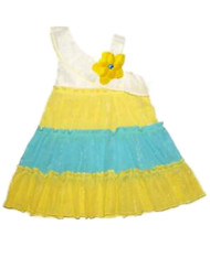 Infant Girls White Yellow & Blue Sundress Tiered Sleeveless Summer Dress 12M