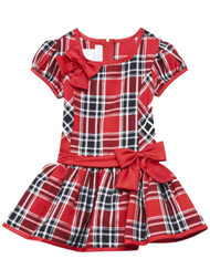 Infant & Toddler Girls Red & Black Plaid Christmas Holiday Party Dress