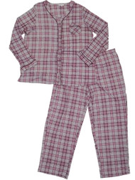 Womens Gray Maroon & Pink Plaid Tartan Print Pajamas Checkered Sleep Set